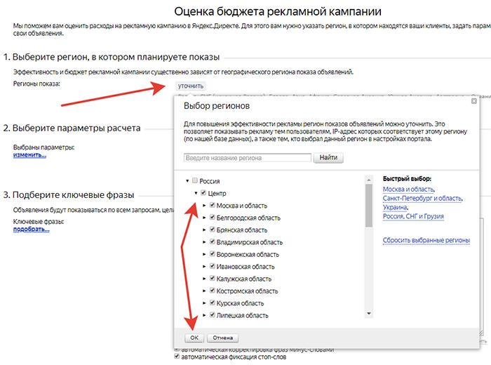 Прогноз бюджета, Яндекс.Директ